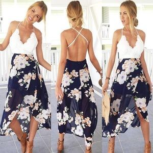 Strappy backless high low chiffon dress